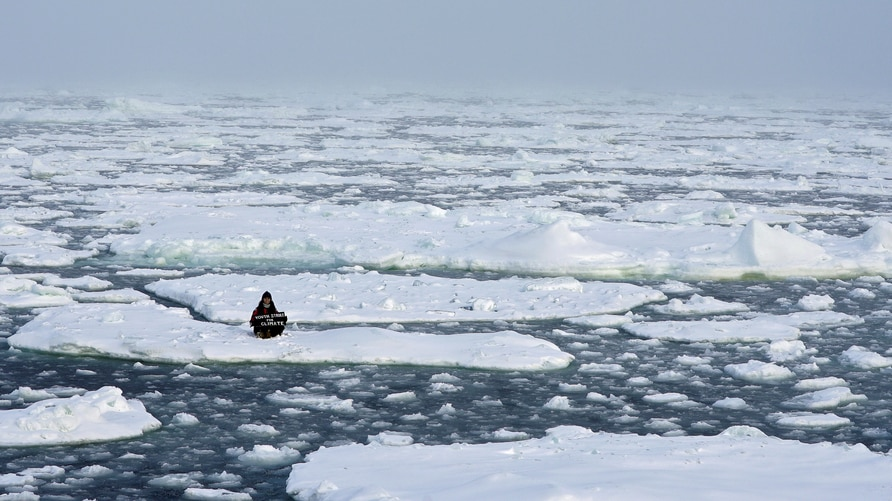 """Environmental activist and campaigner Mya-Rose Craig, 18, holds a cardboard sign reading """"youth strike for climate"""" as she sits on the ice floe in the middle of the Arctic Ocean, hundreds of miles above the Arctic Circle."""