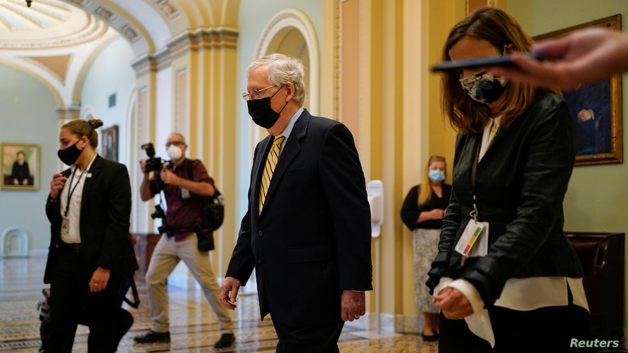 Senate Majority Leader Mitch McConnell (R-KY) walks from the Senate Chamber after a cloture vote on a coronavirus disease (COVID-19) economic relief package on Capitol Hill in Washington, Sept. 10, 2020.