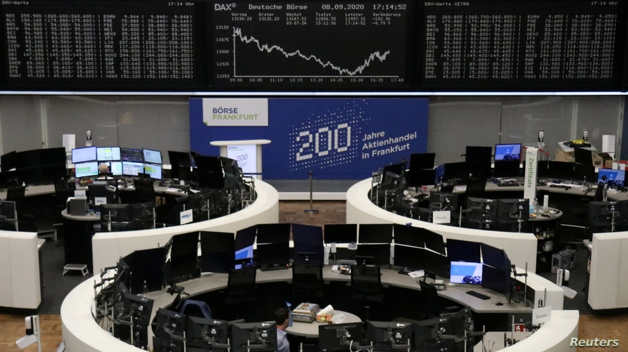 The German share price index DAX graph is pictured at the stock exchange in Frankfurt, Germany, Sept. 8, 2020.