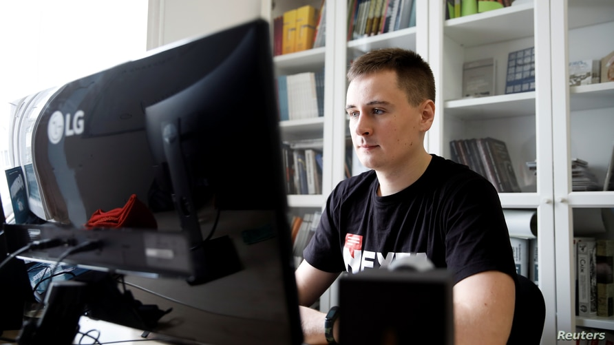 Warsaw-based Belarusian blogger Stsiapan Putsila, known under the pseudonym NEXTA, is seen during an interview with Reuters, in Warsaw, Poland, August 28, 2020.