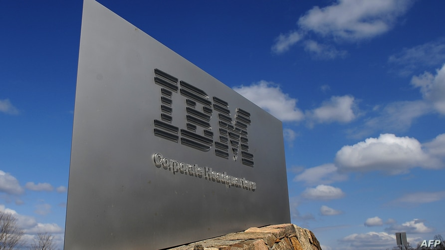 (FILES) In this file photo taken on March 20, 2009, a sign marks the entrance to IBM Corporate Headquarters in Armonk, New York…