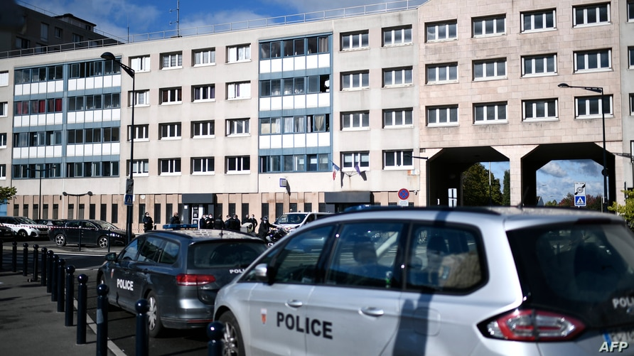 A picture shows the  police station of Champigny-sur-Marne, outside Paris, on October 11, 2020, the morning after it was…