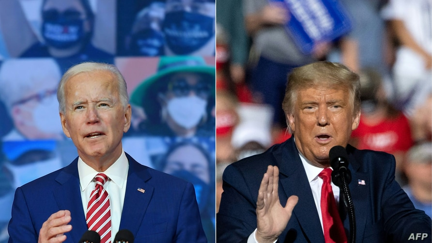 (COMBO) This combination of pictures created on October 30, 2020 shows Democratic presidential nominee and former Vice…