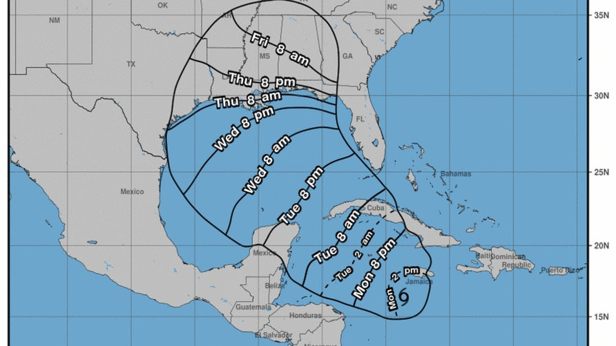 Earliest reasonable arrival time of Tropical storm Delta