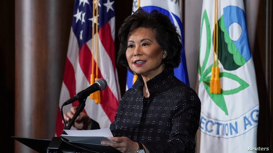 U.S. Department of Transportation Secretary Elaine Chao speaks during a press conference on the One National Program Rule on…