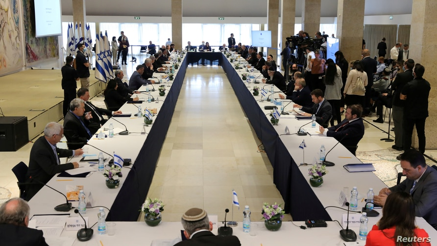 General view during the first working cabinet meeting of the new government at the Chagall Hall in the Knesset, the Israeli…