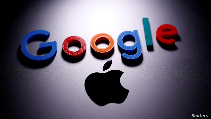 FILE PHOTO: A 3D printed Google logo is placed on the Apple Macbook in this illustration taken April 12, 2020. REUTERS/Dado…