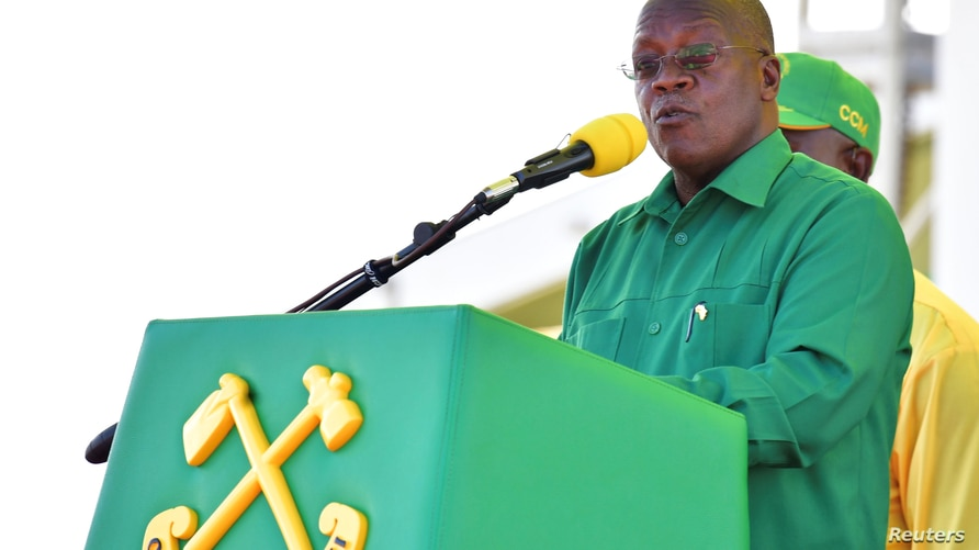 Tanzania's President John Magufuli addresses his supporters during his Presidential campaign rally at the Tanganyika Parkers…
