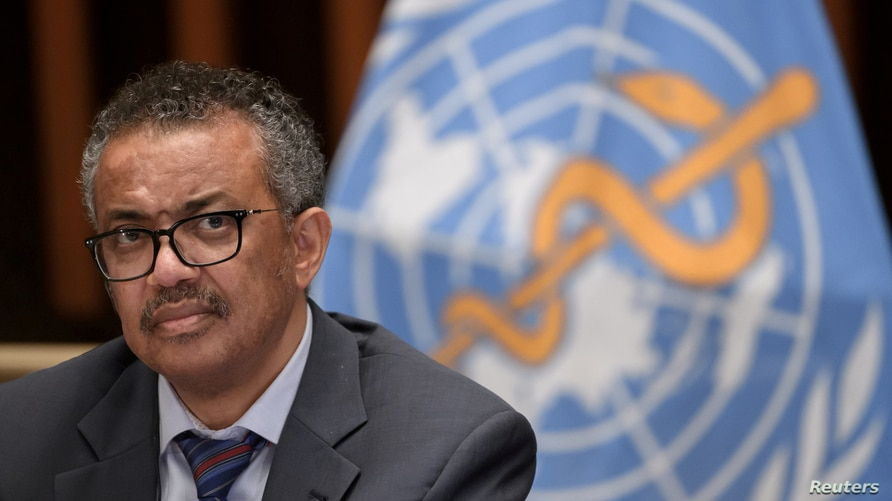 FILE PHOTO: World Health Organization (WHO) Director-General Tedros Adhanom Ghebreyesus attends a news conference organized by…