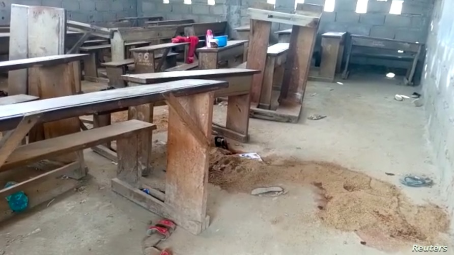 An empty clasroom is seen following a shooting at a school in Kumba, Cameroon October 24, 2020 in this screen grab obtained…