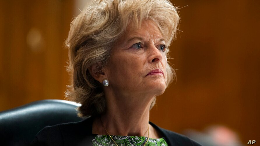 FILE - In this June 23, 2020, file photo Sen. Lisa Murkowski, R-Alaska, listens during a Senate Health, Education, Labor, and…