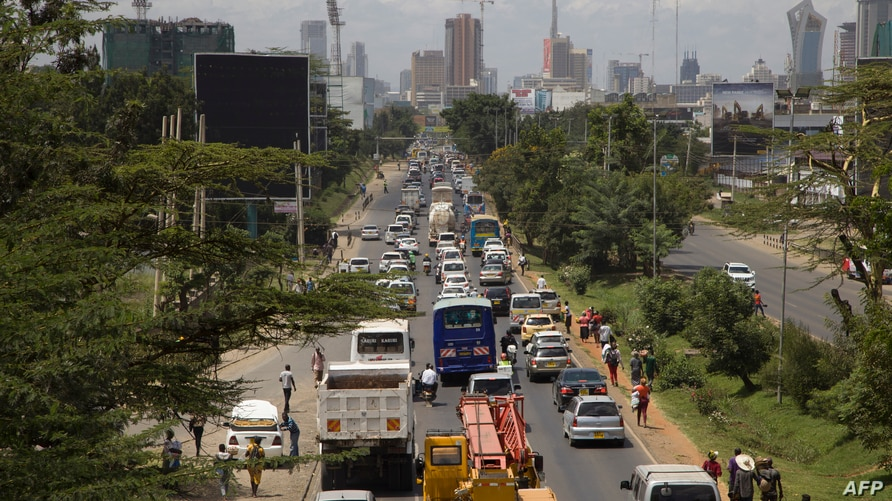In this photo taken Thursday, Feb. 13, 2020, traffic sits queued up on Uhuru Highway leading to downtown Nairobi, Kenya. In…