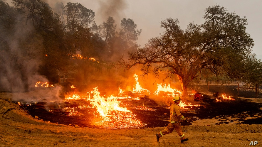 A firefighter runs past flames while battling the Glass Fire in a Calistoga, Calif., vineyard Thursday, Oct. 1, 2020. (AP Photo…