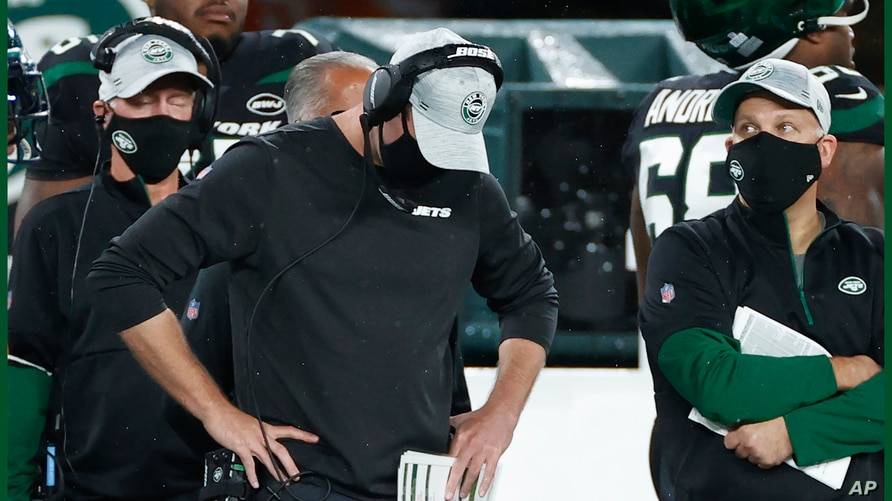 New York Jets head coach Adam Gase reacts during an NFL football game against the Denver Broncos, Thursday, Oct. 1, 2020, in…