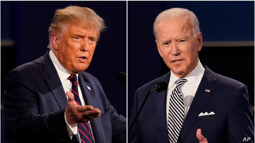 This combination of Sept. 29, 2020, photos shows President Donald Trump, left, and former Vice President Joe Biden during the…