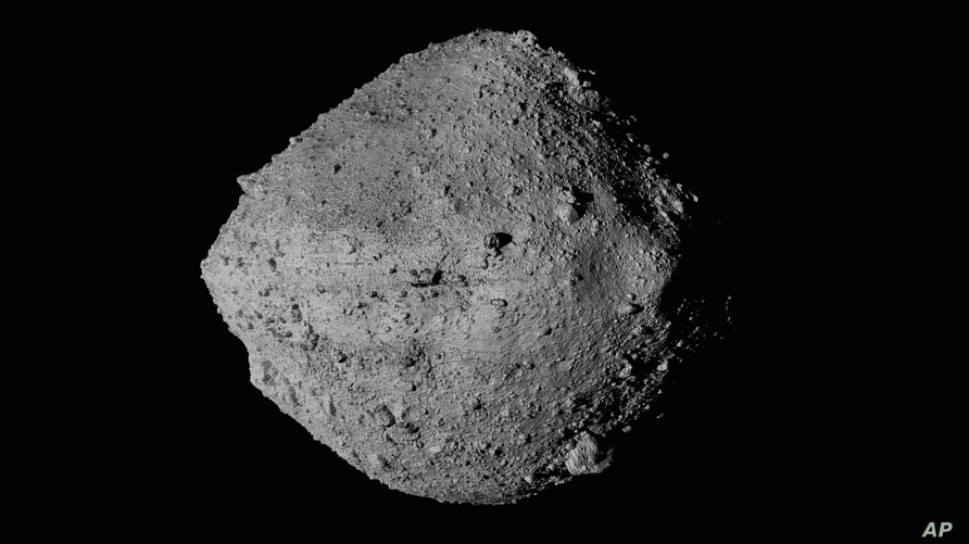 This undated image made available by NASA shows The asteroid Bennu from the OSIRIS-REx spacecraft.