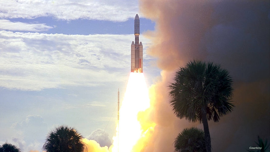 FILE - On August 20, 1975, Viking 1 was launched by a Titan/Centaur rocket from Complex 41 at Cape Canaveral Air Force Station in Florida at 5:22 p.m. EDT to begin a half-billion mile, 11-month journey through space to explore Mars. The 4-ton spacecraft went into orbit around the red planet in mid-1976.  (Image Credit: NASA)