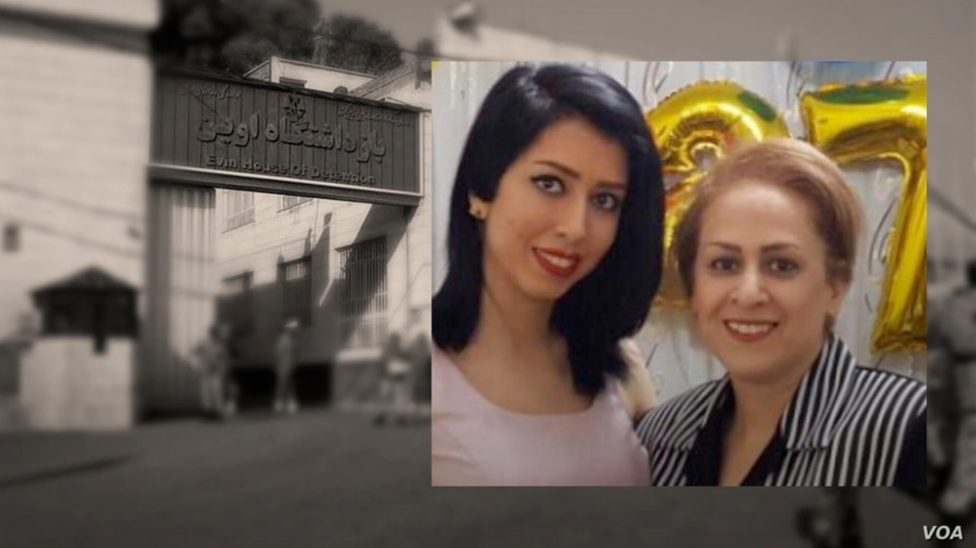 Iranian women's rights activists Saba Kord Afshari, left, and her mother, Raheleh Ahmadi,