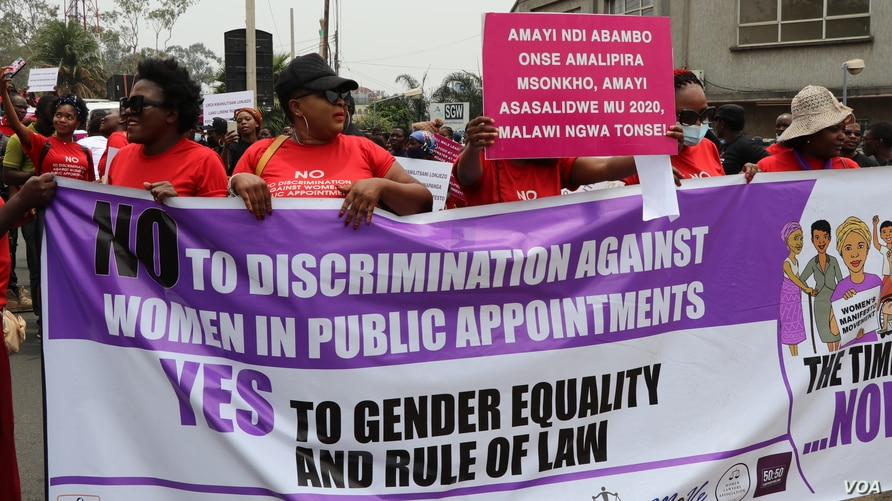 Women's rights supporters said it's time for the new administration of President Lazarus Chakwera's to start recognizing women. (Lameck Masina/VOA)