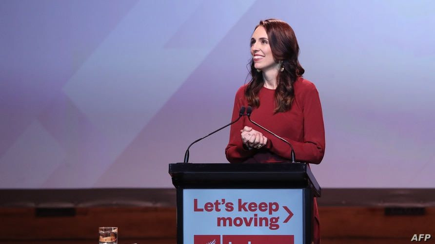 New Zealand Prime Minister Jacinda Ardern speaks at the Labour Election Day party after the it won New Zealand's general election, in Auckland, New Zealand, Oct. 16, 2020.