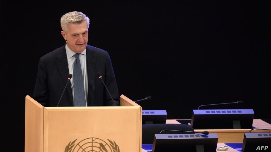 United Nations High Commissioner for Refugees Filippo Grandi delivers a speech at the opening of the 71th session of the executive committee of the UN refugee agency, Oct. 5, 2020 in Geneva, Switzerland.