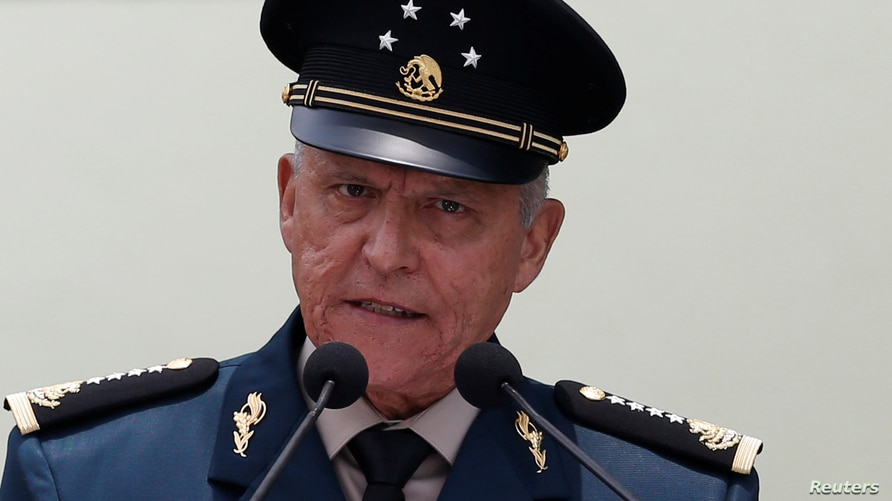 FILE - Mexico's then-Defense Minister General Salvador Cienfuegos addresses an audience at an event in Mexico City, Mexico, July 12, 2017.