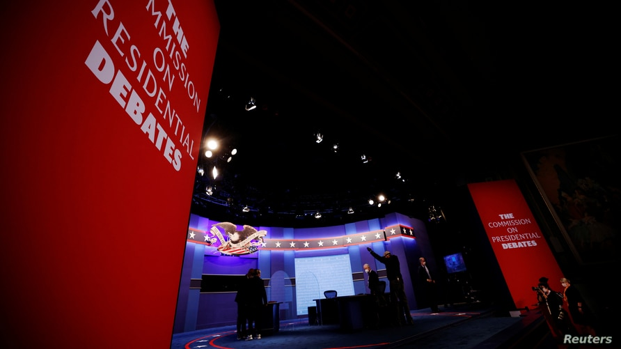 The stage is set for the vice presidential debate between Vice President Mike Pence and Democratic vice presidential nominee and U.S. Senator Kamala Harris on the campus of the University of Utah in Salt Lake City, Utah, Oct. 7, 2020.