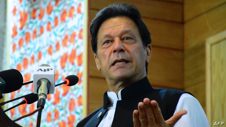 Pakistan's Prime Minister Imran Khan addresses the legislative assembly in Muzaffarabad, the capital of Pakistan-controlled…