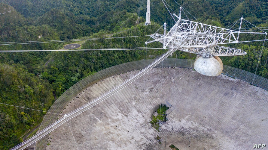 This aerial view shows a hole in the dish panels of the Arecibo Observatory in Arecibo, Puerto Rico, on November 19, 2020. -…