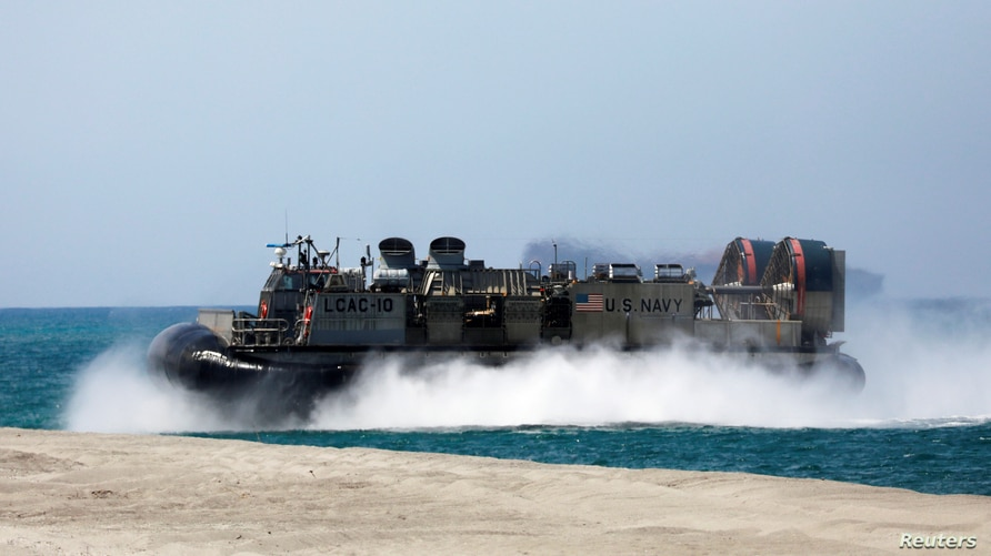 FILE - A Landing Craft Air Cushion (LCAC) vehicle is pictured during the amphibious landing exercises of the U.S.-Philippines war games promoting bilateral ties at a military camp in Zambales province, Philippines, April 11, 2019.