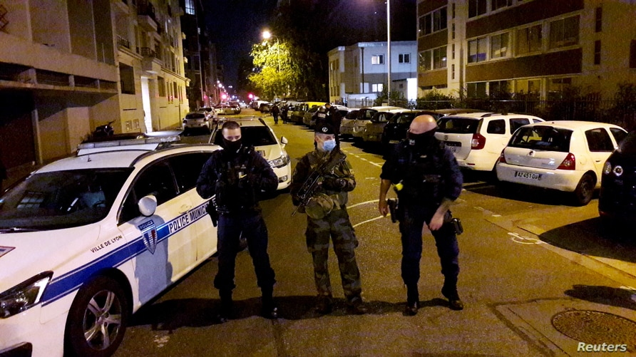 Police secures a street after a Greek Orthodox priest was shot and injured at a church in the centre of Lyon, France October 31…
