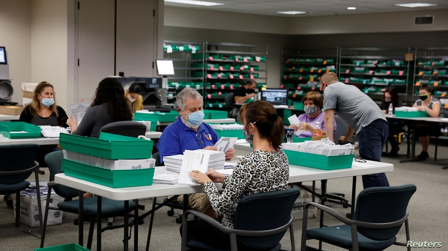 Mail-in ballots are counted in Lehigh County, Pennsylvania, Nov. 4, 2020.