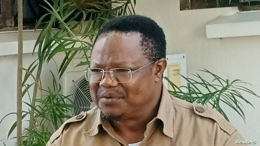 FILE PHOTO: Tanzania's main opposition presidential candidate Tundu Lissu speaks during a Reuters interview in Dar es Salaam,…
