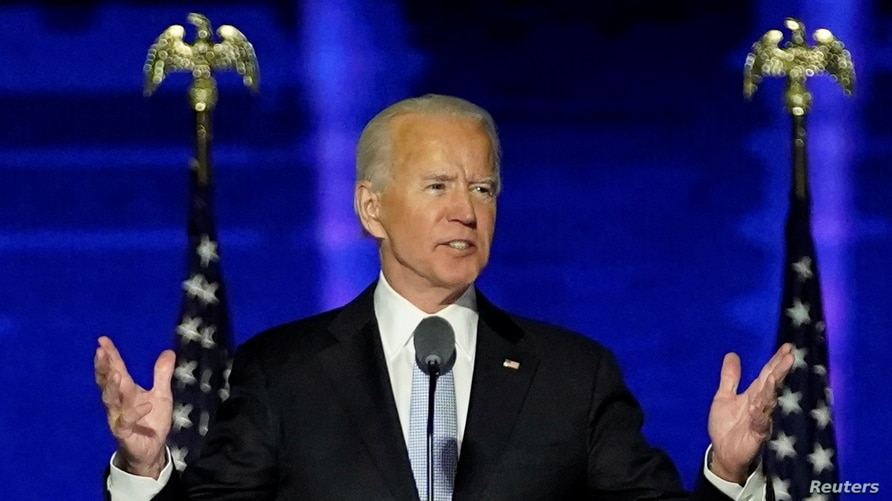 Democratic 2020 U.S. presidential nominee Joe Biden addresses supporters at an election rally in Wilmington, Delaware.