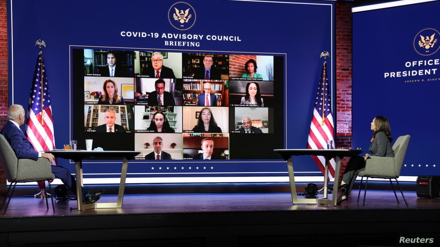 U.S. President-elect Joe Biden and Vice President-elect Kamala Harris hold a virtual meeting with coronavirus team.
