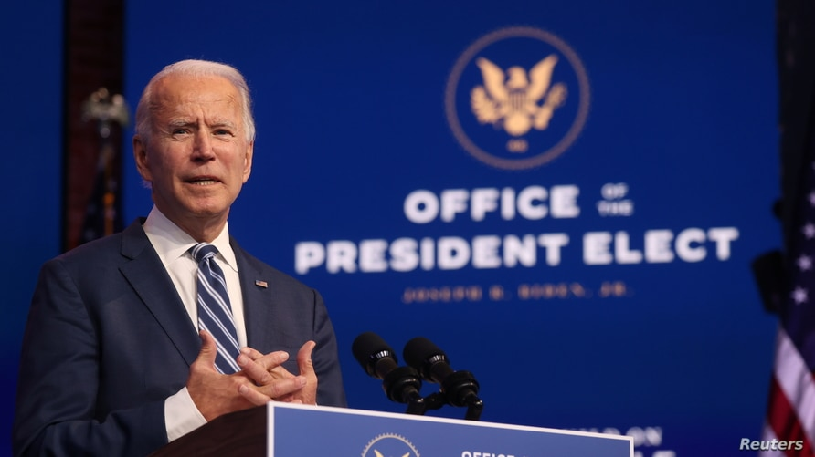 U.S. President-elect Joe Biden speaks about  health care and the Affordable Care Act (Obamacare) in Wilmington, Delaware.