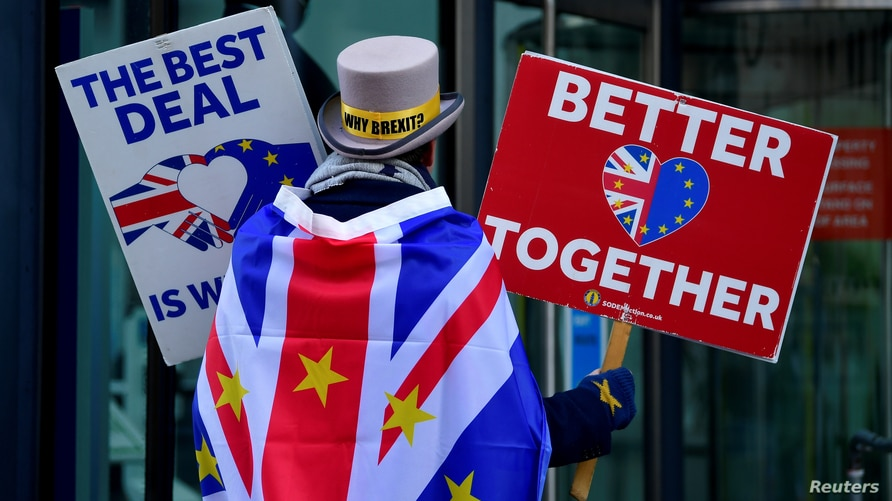FILE PHOTO: Anti-Brexit protester Steve Bray demonstrates outside of the conference centre where Brexit trade deal negotiations…