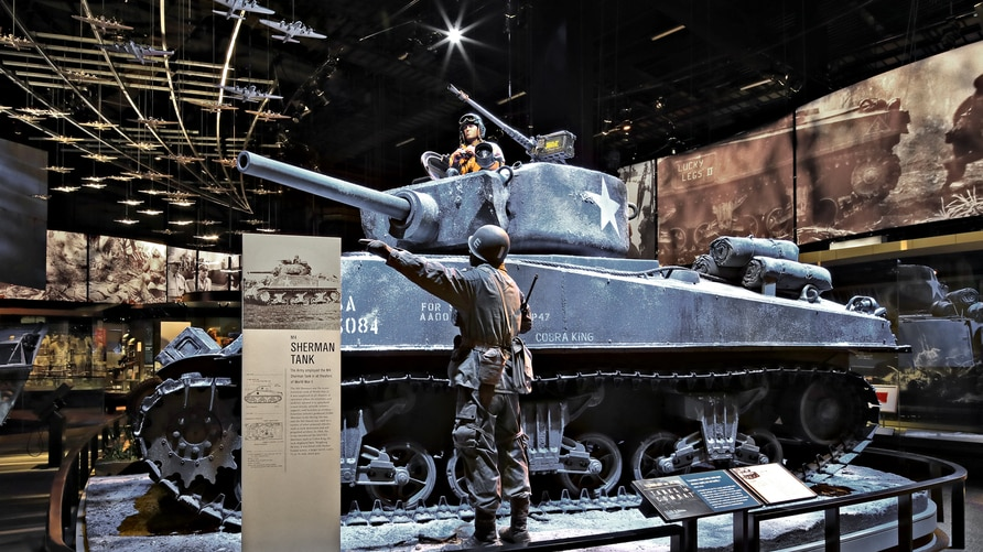 The M4 Sherman tank was the iconic American tank of World War II. It was employed in all theaters of operation where its reliability and mobility allowed it to spearhead armor attacks, provide infantry support or serve as artillery.