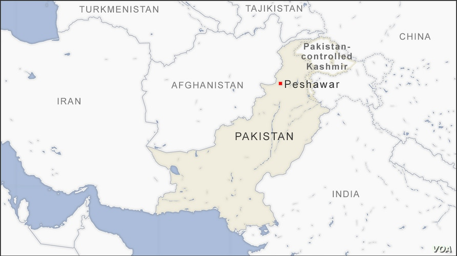 Map of Peshawar in Pakistan