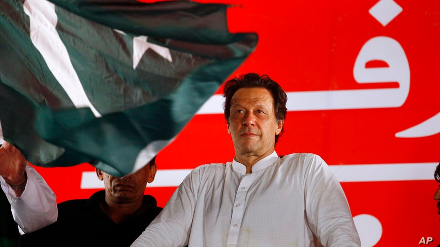 FILE - In this Saturday, July 21, 2018 file photo, Pakistani politician Imran Khan, chief of Pakistan Tehreek-e-Insaf party,…