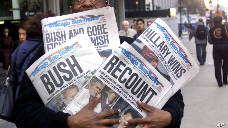 In this Nov. 8, 2000 photo, newspaper headlines reflect the suspense, drama and changes in following the presidential race between Vice President Al Gore and Texas Gov. George W. Bush.