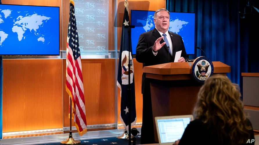 Secretary of State Mike Pompeo speaks during a media briefing, Tuesday, Nov. 10, 2020, at the State Department in Washington. …
