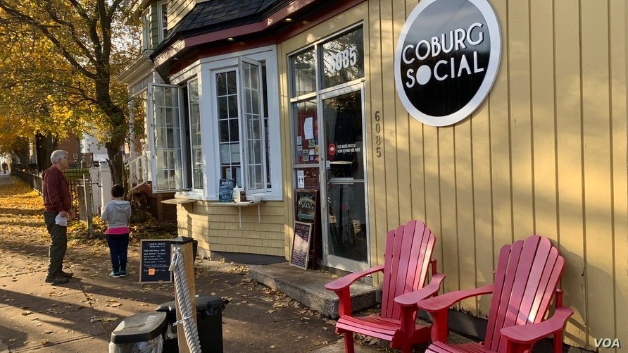 A cafe take-out window of Coburg Social in Halifax, Canada
