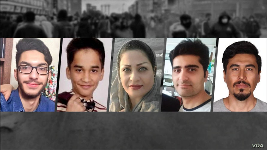 Undated images of five Iranians among hundreds killed by Iranian security forces who crushed nationwide antigovernment protests in November 2019. From left to right: Arsham Ebrahimi, Mohammad Dastankhah, Ameneh Shahbazi, Pouya Bakhtiari and Nasser Rezaei.