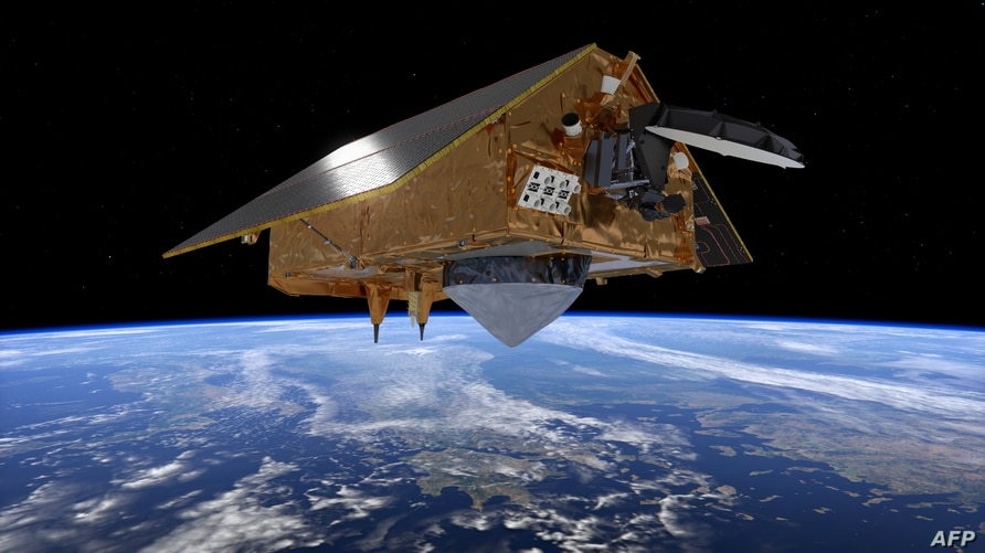 This handout image taken on July 17, 2020, and released by the European Space Agency (ESA) Nov. 19, 2020, shows the Sentinel-6 satellite developed to monitor sea levels.