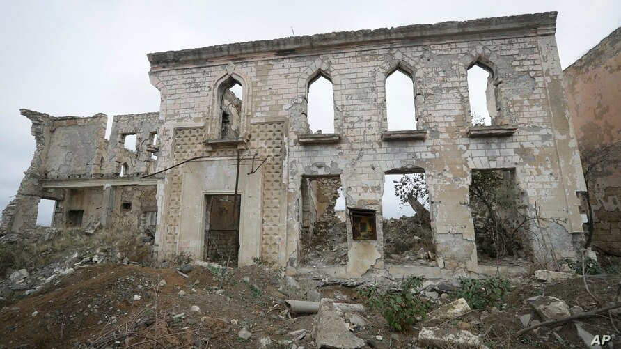 A view of a vast expanse of jagged concrete and houses reduced to shells in Aghdam, after the Azerbaijani forces handed control that had been occupied by Armenian forces for a quarter-century, Aghdam, Nov. 20, 2020.