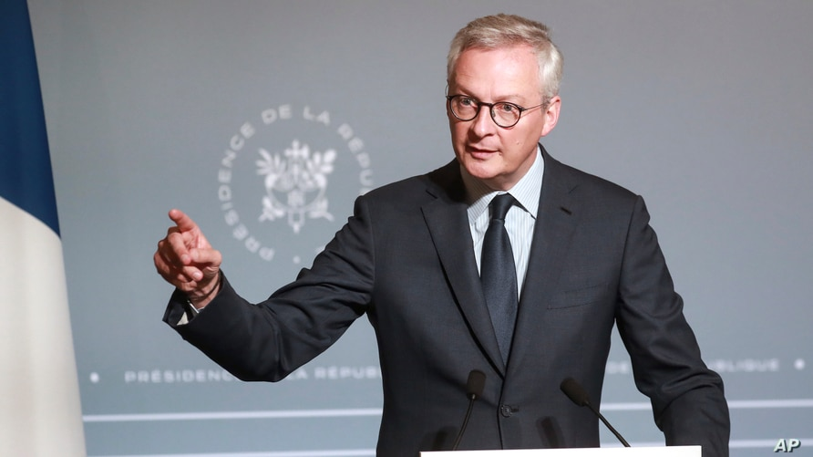 FILE - French Finance Minister Bruno Le Maire attends a press conference, June 10, 2020.