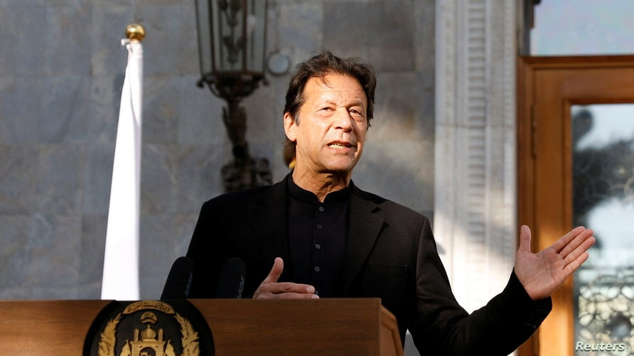 Pakistan's Prime Minister Imran Khan speaks during a joint news conference with Afghan President Ashraf Ghani (not pictured), at the presidential palace in Kabul, Afghanistan, Nov. 19, 2020.