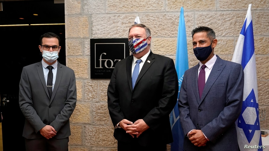 U.S. Secretary of State Mike Pompeo poses for a picture as he tours the Friends of Zion Museum, in Jerusalem, Nov. 20, 2020.