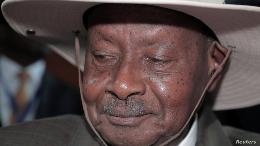 FILE - Uganda's President Yoweri Museveni arrives for the opening of the 33rd Ordinary Session of the Assembly of the Heads of State and the Government of the African Union (AU) in Addis Ababa, Ethiopia, Feb. 9, 2020.